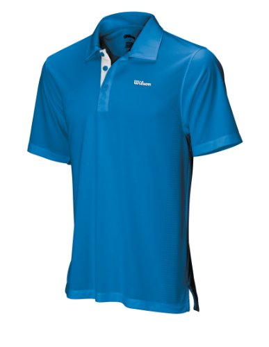 WILSON Herren Tennispolo Body Mapping Shirt, Pool/White, S, WRA1302005100sm -