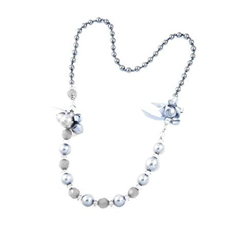 Move&Moving(TM) Women Plastic Bead Faceted Crystal Decor Clothes Sweater Necklace Gray