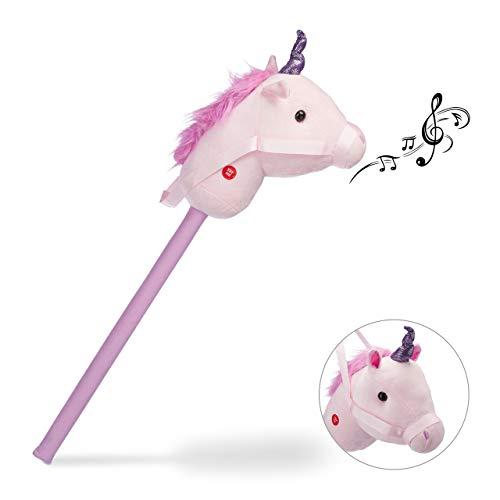 Relaxdays Steckenpferd Einhorn, mit Sound, aus Holz & Plüsch, niedliches Stockpferd, Wiehern & Hufgetrappel, 74 cm, rosa
