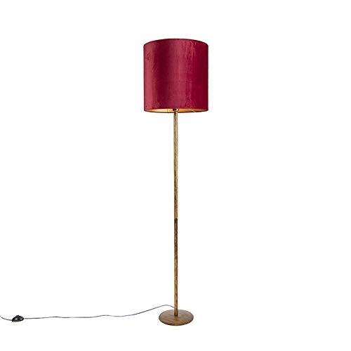 Antike Messing Stehlampe (QAZQA Klassisch/Antik Vintage Stehleuchte/Stehlampe/Standleuchte/Lampe/Leuchte Gold/Messing mit rot - Gold/Messingenen Schirm 40cm - Simplo/Innenbeleuchtung/Wohnzimmerlampe/Schlafz)