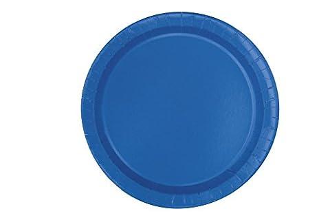 Unique Party - 31474 - Paquet de 20 Assiettes en Carton - 18 cm - Bleu Roi