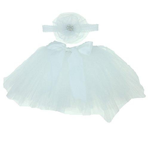 Tutu Kleid Baby Neugeborenes Fotographie - Tyidalin Kostüm Zusatz Prinzessin Kleid Fotoshooting Bekleidungsset Mädchen Ballettröckchen Tutu Rock + Stirnband (0-6 Monate)