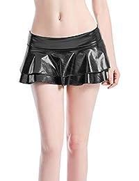 d46e469190 Hibote Mujeres Metálico Faldas Plisadas Sexy Color Sólido Brillante Doble  Capa Mojada Estirada Estampada Mini Falda
