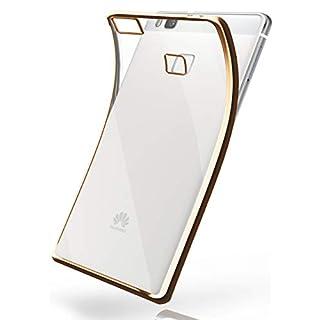 MoEx® Transparente Silikonhülle im Chrome-Style kompatibel mit Huawei P9 Lite | Flexibler Schutz mit Hochglanz Metallic Rahmen, Gold