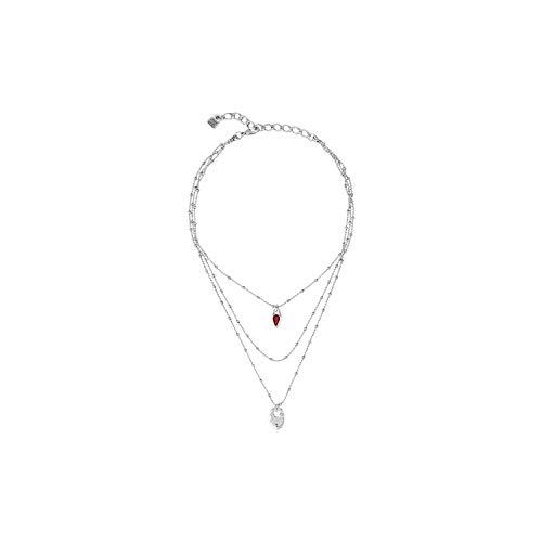 Uno de 50 Collier, Alliage de Coeur de Cristal Swarovski Encandilado COL1342ROJMTL0U