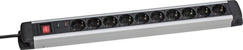 as - Schwabe 18350 10fach Überspannungs-Aluminium-Steckdosenleiste mit Schalter und Kinderschutz, 1.5 m H05VV-F 3G1.5, IP20 Innenbereich