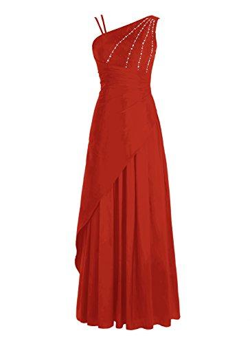 Bbonlinedress Robe de cérémonie Robe de bal emperlée en satin épaule asymétrique longueur ras du sol Rouge
