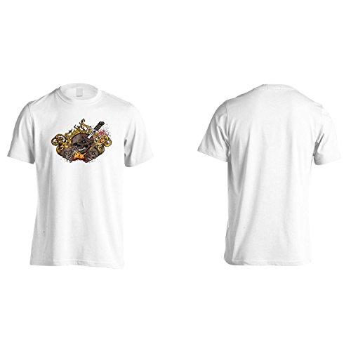 Cranio Con Fiamme Di Fuoco Demone D'Epoca Uomo T-shirt oo71m White