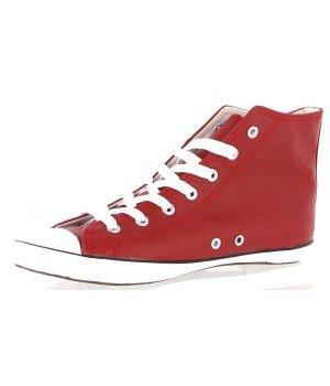 Chaussure Bas Prix - Baskets montantes, imitation cuir - H2625-2C Rouge