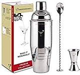 Coctelera Premium de 770ml y 1mm de Espesor con Colador Integrado, Jigger de 4 Medidas, Cuchara...