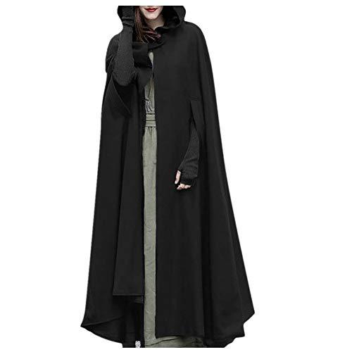 iHENGH Damen Herbst Winter Bequem Mantel Lässig Mode Jacke Frauen Trenchcoat Cardigan mit offener Vorderseite und Mantel Mantel Poncho Plus(Schwarz, L)