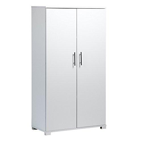 Armadio da ufficio, di colore bianco, per riporre accessori di cancellerie, con 4 ripiani, 2 ante, 800 mm d larghezza, grande capienza, fino a 40 scatole di documenti di formato a4