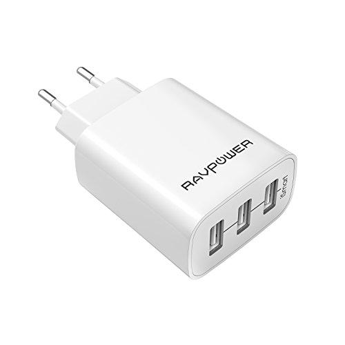 RAVPower Caricatore USB da Muro a 3 Porte (30W, 5V/6A), con Output Massima fino a 2.4A, Compatto per iPhone, iPad, Galaxy, Tablet e Altri Dispositivi USB (Bianco)
