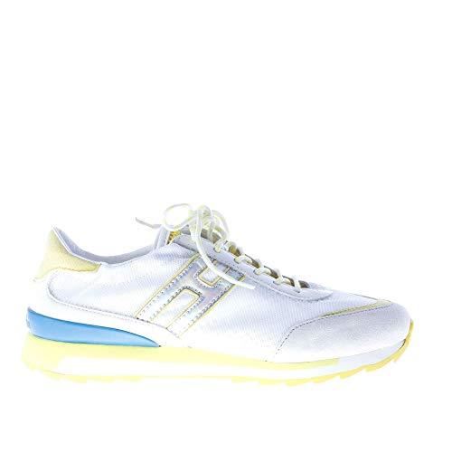Hogan Rebel H261 Sneaker Elasticizzata con Lacci in Tessuto Bianco più camoscio Ghiaccio Color Bianco Size 35