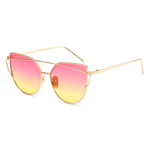 Siwen Flache Frauen Panel Spiegel objektiv cat Eye Sonnenbrille männer Twin-Beams tönung Sonnenbrille uv400,Rosa gelber Farbverlauf