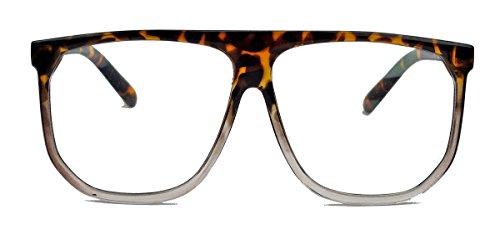 Geek Style : klassische Nerdbrille im Flat Top Stil Streberbrille Pantobrille 80er Jahre Klarglas W55 (Hornbrille Ombre)