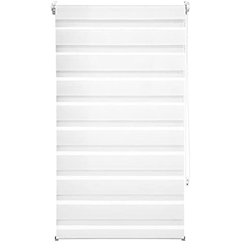 TecTake® Estor enrollable translúcido - blanco - 70 x 120 cm