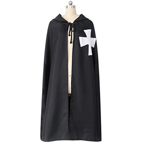 (Huaishu Schwarzer Mantel Mit Kapuze Adult Knights Templar Halloween Ostern Weihnachten,L)
