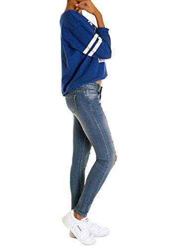 62nd Avenue Damen Destroyed Super Skinny Hüftjeans Stretch Hose mittelblau 6210 Mittelblau