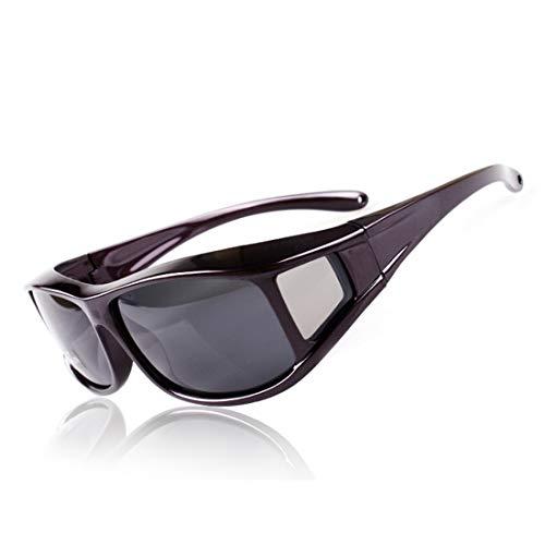 Retro Vintage Sonnenbrille, für Frauen und Männer Polarisierte Sonnenbrille uv Schutz Slip Full Frame schwarz grau objektiv Outdoor Fahren Fahrrad Erwachsene männer & Frauen (Farbe : Black02)