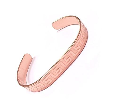Rheumatone Armband, gemustert, massiv, reines Kupfer, gegen Rheuma, Arthritis, Schmerzlinderung, 9mm breit