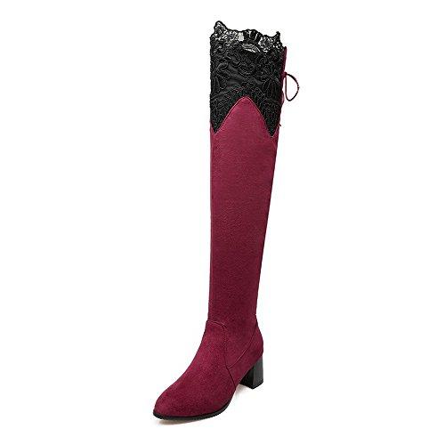 VogueZone009 Donna Allacciare Tacco Medio Puro Alta Altezza Stivali con Sintetico Rosso