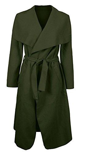 Janisramone femmes célébrité cascade drapé ceinturé fashion veste abaya manches longues Cap Kaki