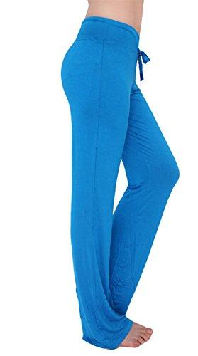 Scothen Super doux Modal Spandex Yoga Pilates Pantalons Yoga Pant 14 couleurs sarouel bloomers pantalon harem doux Yoga Modal Pantalons stretch Sport Aladdin confortable Salle gym pour femmes LumièreBleu