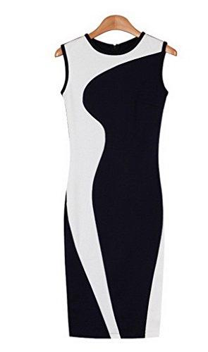 Smile YKK Robe Sans Manche Femme Coton Eté Robes de Cocktail Soirée Casual Col Rond Elégante Blanc
