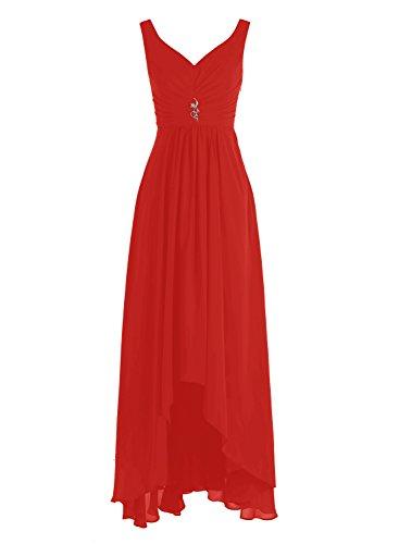 Bbonlinedress Robe de demoiselle d'honneur Robe de cérémonie col en V ourlet asymétrique longueur ras du sol Rouge
