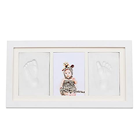 NaiFei Foto-Rahmen Klassischer Kleinkind-SäuglingsBaby- / Mädchen-Handabdruck oder Fußabdruck-Rahmen-Andenken-Geschenke (Weiß)