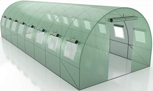 Générique Serre de Jardin Tunnel - bache armée - 24m2-8x3m avec fenêtres latérales et Porte zipée