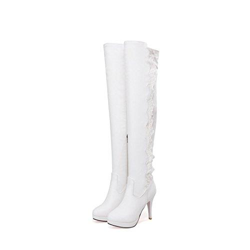 UH Femmes Chaussures Bottes avec Lace Dentelle et Petite Plateforme à Mi-mollet Talons Haute Aiguilles avec Fourrure en Mode pour L'hiver Blanc