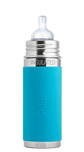 Pura Isolierte Edelstahl Flasche mit Silikon (Nippel Kunststoff frei, ungiftig zertifiziert, BPA-frei), aqua'