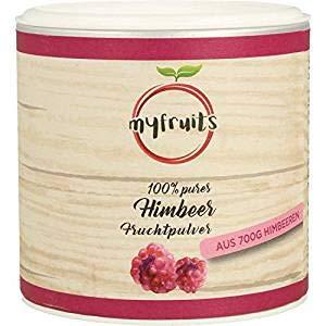 myfruits® Himbeerpulver - ohne Zusätze, zu 100% aus Himbeeren, gefriergetrocknet, Fruchtpulver für Smoothie, Shakes & Joghurt (50g)
