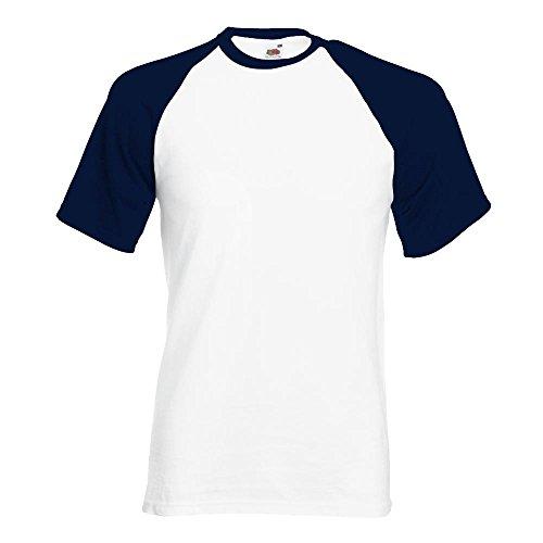 Fruit of the Loom - Kontrast T-Shirt 'Baseball T' White/Deep Navy
