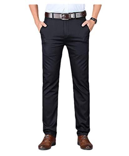 VITryst Men Original Fit Stretch Solid No-Iron Plain-Front Dress Pant Navy Blue 35 -