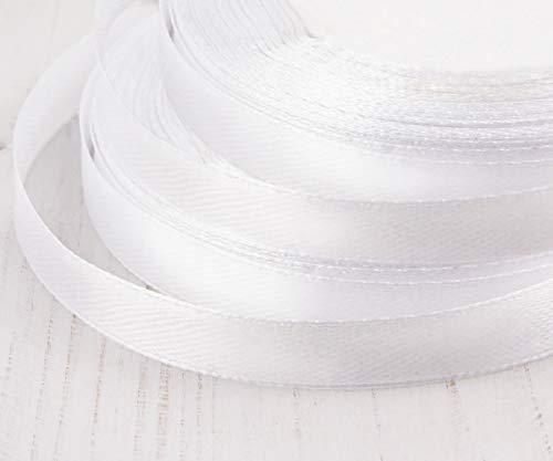 22m 72.2 ft 24yds Roll Snow White Satin Ribbon Handwerk-Stoff-Dekorative Hochzeit Kanzashi-10mm 3/8in -