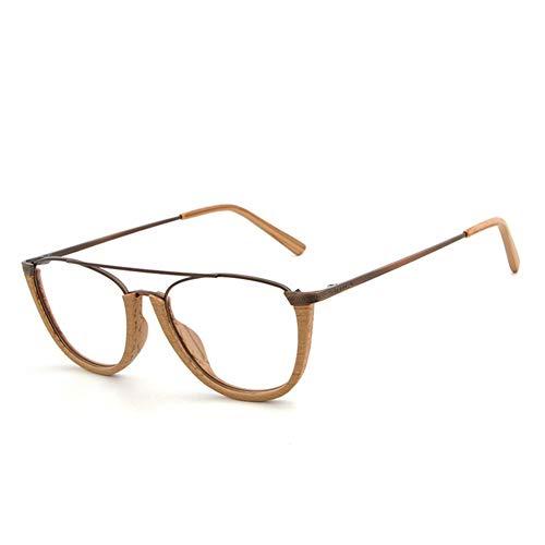 Gläser Holzrahmenplatte Holzmaserung Halbrahmen Europa und Amerika Brillen Retro Flat Glasses Frame (Color : C3)
