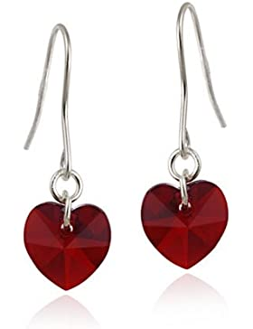 Sterling Silber, Rot, Swarovski Kristall, Herz Ohrringe