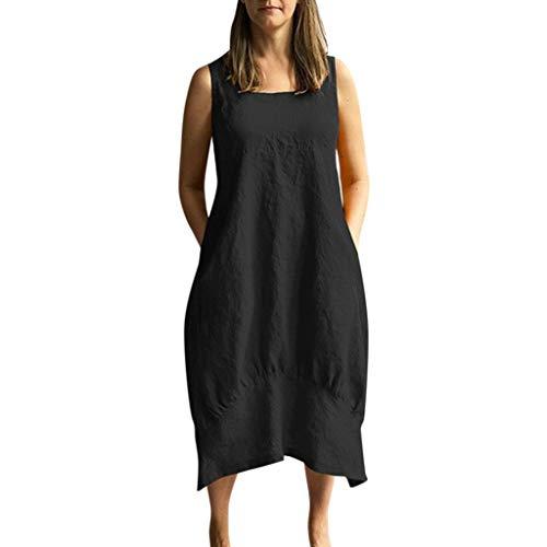 OIKAY Frauen Leinenkleid Lässig O-Ausschnitt Festes Kleid Ärmellos Lose Tasche Leinen (Skull Candy Kostüme)