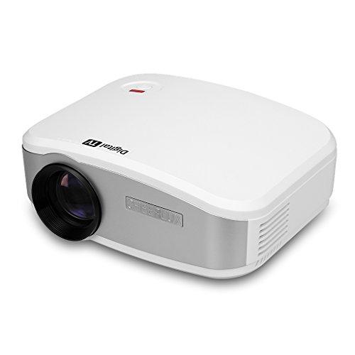 CHEERLUX C6 - Mini LED Proyector portátil Home Cinema (resolución 800*480, 1200 lúmenes, conexión USB/HDMI/ATV/AV/VGA) con altavoz estéreo,