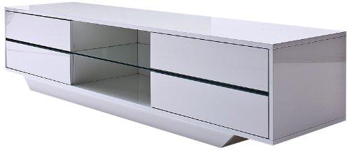 Robas Lund 59075W14 Blues Media TV-Lowboard, Klarglasboden, RGB LED Wechselbeleuchtung mit Fernbedienung, MDF Hochglanz weiß lackiert