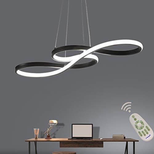 LED Lüster Modern Dimmbar Mit Fernbedienung Acryl Pendelleuchte Deckenlampe Kreative Design Kronleuchter Hängeleuchte Innen Esszimmer Leuchte Flur Wohnzimmer Hängende Lampen Höhenverstellbar (Schwarz)