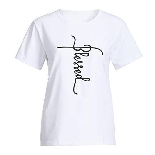 JiaMeng Damen Mädchen Plus Size Print Tees Shirt Kurzarm Baumwolle Bluse Tops