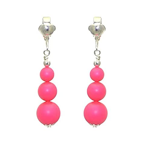 NEON PINK Silver Plated Swarovski Crystal Pearl Clip On Earrings