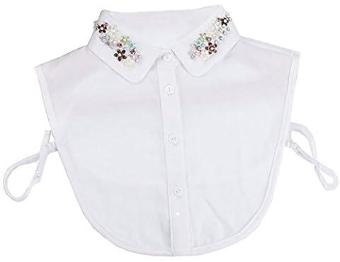 Kissing U Frauen Fake Kragen Chiffon Doll Falsche Kragen Spike Perlen Shirt Schwarz und Weiß (Set-7)