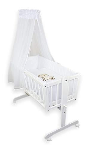 Niuxen 426-432 Babywiege 90/40 Bär mit Schleife 11-tlg. weiß