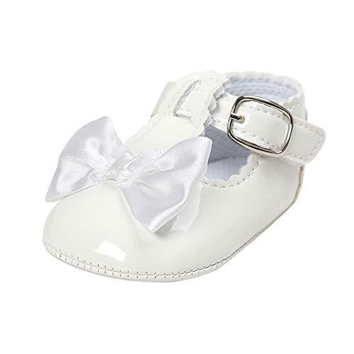 LACOFIA Scarpe da Primi Passi Bambina Scarpe da Battesimo Principessa  Antiscivolo Bowknot della neonata Bianco 12 458f64d1e47