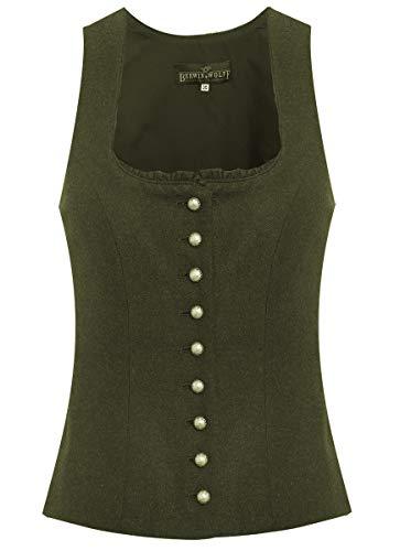Berwin & Wolff Damen Trachten-Mode Trachtenmieder Melinda in Oliv traditionell, Größe:44, Farbe:Oliv